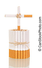 Concept, bunch of cigarettes with cross closeup - Concept,...