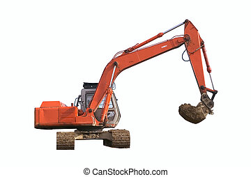 Digger Isolated - Construction digger, isolated on white,...