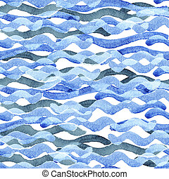 Abstract watercolor blue wave pattern, water texture sketch...