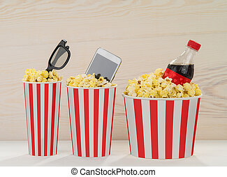 Friends forever. Popcorn, movie cola, movies, glasses,...
