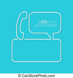 Speech Bubbles with handset and Chat symbol. Outline. Call...