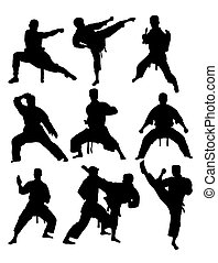 Taekwondo and Karate, art vector silhouettes design