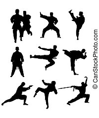Kyokushin Karate Silhouettes Set, art vector design
