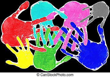 Pop art hands - Hand prints in many colours with...