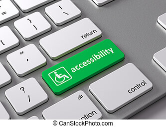 Accessibility - A keyboard with a green button-Accessibility