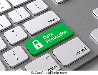 Data Protection - A keyboard with a green button-Data...
