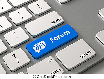 Forum - A keyboard with a blue button-Forum