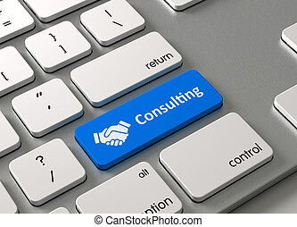 Consulting - A keyboard with a blue button-Consulting