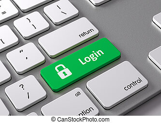 Login - A keyboard with a green button-Login