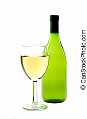 White wine 1 - White wine bottle and glass, high key shot,...