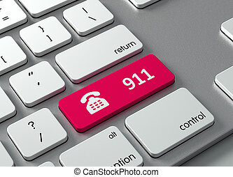 911 - A keyboard with a red button-911