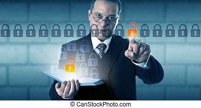 Businessman Initiating Authenticated Data Access - Business...