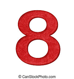 red Number in Paper craft texture isolated on white background
