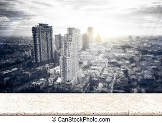 Paper poster at Frosted glass with Landscape View of City Skyline Buildings from High Rise marble balcony with sun burst behind the building