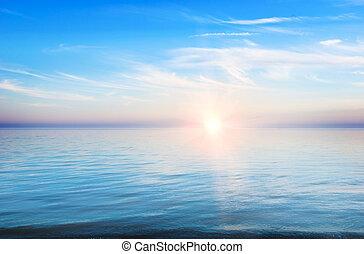 ocaso, paisaje,  -, tranquilidad, mar