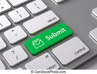 Submit - A keyboard with a green button-Submit