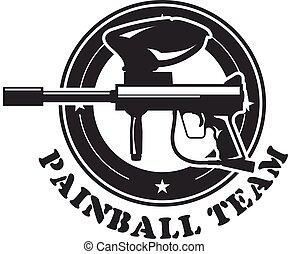 Paintball emblem with marker - paintball gun