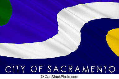 State Flag of Sacramento - a city in the western United...
