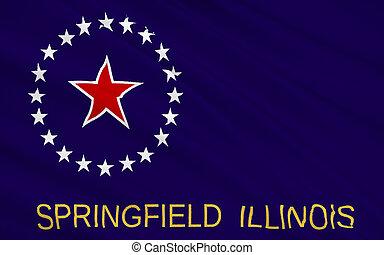 都市,  -, 州, イリノイ, 旗, 中西部, 資本, スプリングフィールド