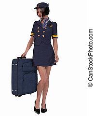 Flight Attendant - 3D Render of an Flight Attendant