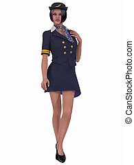 Flight Attendant - 3D Render of an Flight Attendant
