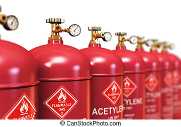 Row of liquefied acetylene industrial gas containers -...