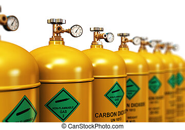 Row of liquefied carbon dioxide industrial gas containers -...