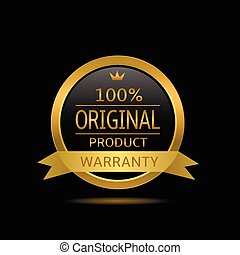 Original product label Golden warranty badge with ribbon