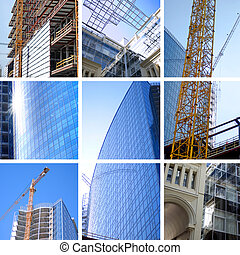 collage of construction of modern skyscrapers and building...