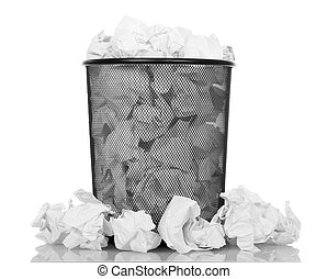 Black office bucket full of paper isolated on white...