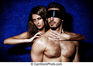 seduction - Sexual passionate couple play in love games....
