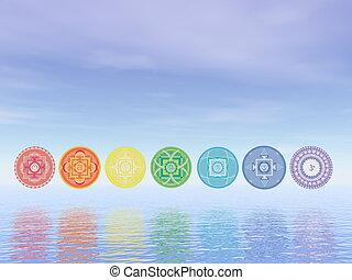 Seven chakra symbols line - 3D render