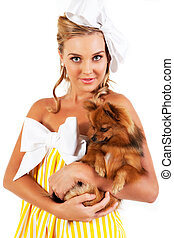 Young Woman Holding Dog - Isolated