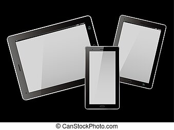 Tablets and smart phone on black background. Vector Illustration.