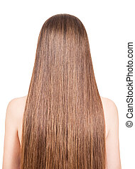 Girl with long straight hair isolated on a white background