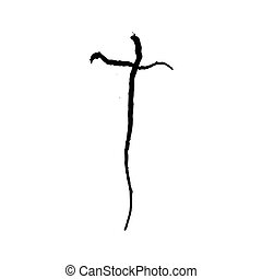 Christian cross grunge vector religion symbol. The Cross Of...
