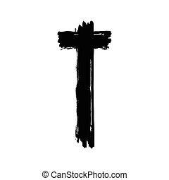Christian cross grunge vector religion symbol. The Cross Of...