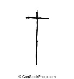 Christian cross grunge vector religion symbol The Cross Of...