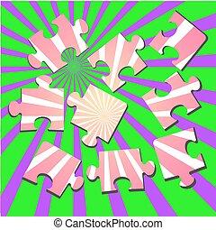 3-D a puzzle. Vector illustration - 3-D a puzzle on a colour...