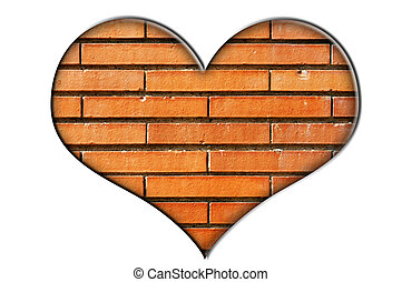 bricks heart - heart made of a close-up of a brick wall on a...