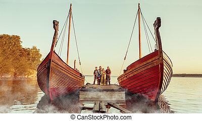 norte, velejando, guerreiros, espadas, dois, príncipe,...