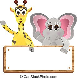 giraffe and elephant holding text b - Funny cartoon giraffe...