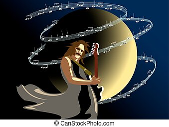 Musician - the moon on a dark background, a musician with a...