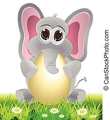 elephant holding egg cartoon
