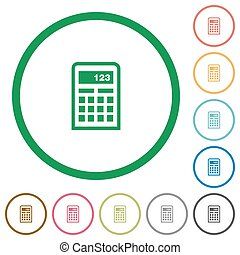 Calculator outlined flat icons - Set of calculator color...
