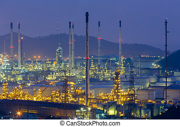 Oil refinery aerial view,