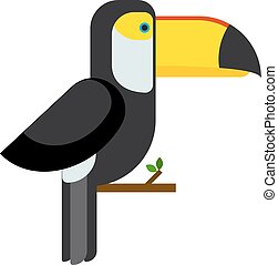 Toucan ramphastos toco sitting on tree branch and tropical...