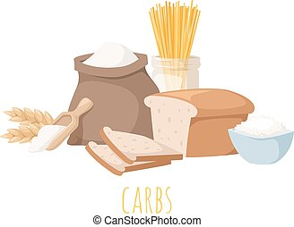 Carbohydrate food vector illustration - Foods high in...