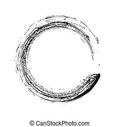 circle shape vector black grunge background. Vintage old...