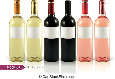 bottle of wine - Mockup realistic bottles of wine on a white...